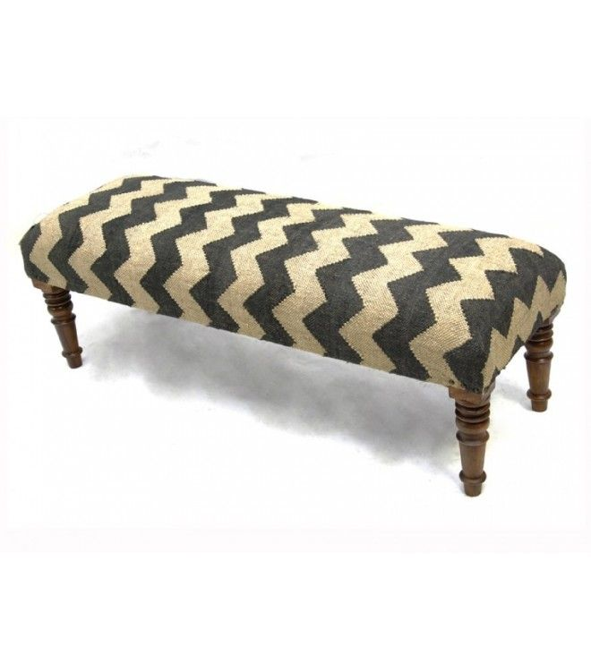 Kilim Bench Chevron Design Jute