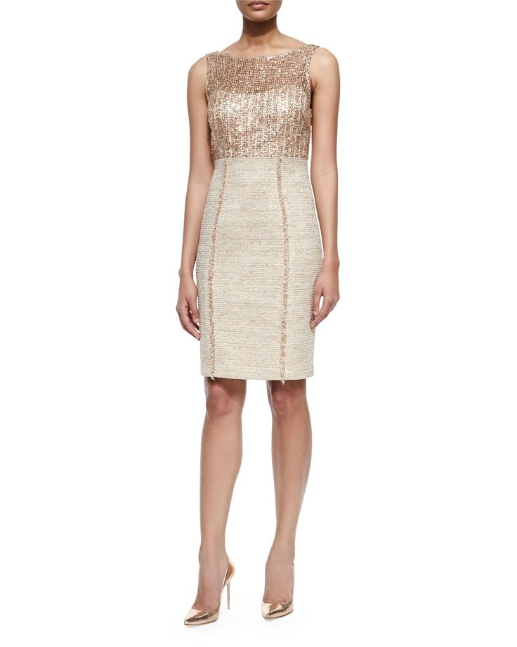 "Kay Unger New York sheath dress features sequined bodice overlay with tweed skirt. Approx. measurements: 26""L center back to hem, 33""L center front to hem. Bateau illusion neckline; V'd back. Sleevele"