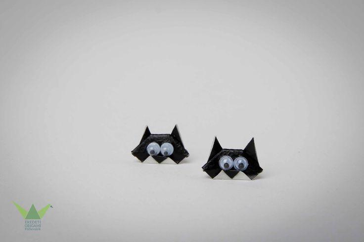 Origami cat earring
