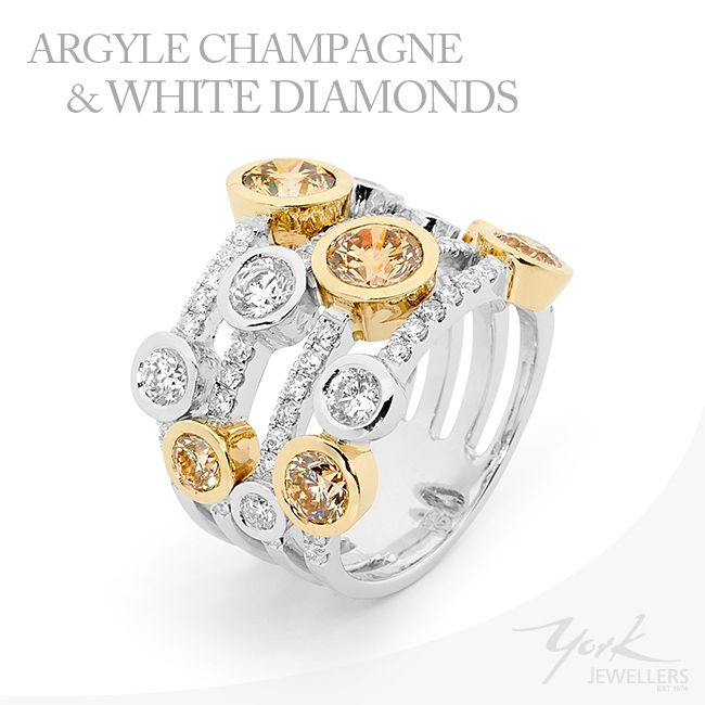 Beautiful Argyle Champagne & White Diamond ring.  www.yorkjewellers.com.au #aryglediamonds