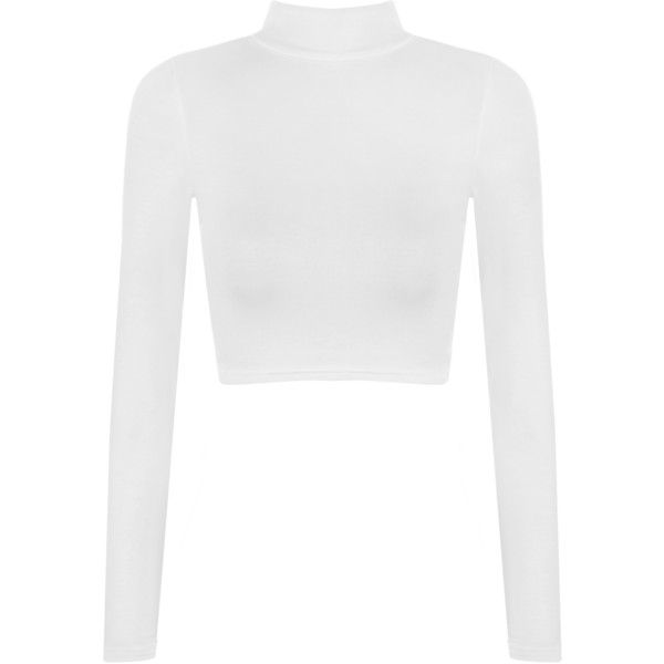 Harmony Turtle Neck Crop Top (£8) ❤ liked on Polyvore featuring tops, white, long sleeve turtleneck, white turtleneck, white top, cropped turtleneck and turtleneck top