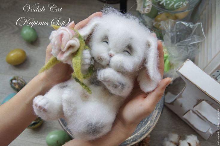 Купить Пасхальный Зайчик - белый, зайчик, пасхальный заяц, пасхальный подарок, Пасхальный кролик