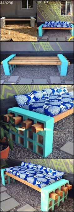 It's simple. It's functional. And it's easy to relocate if you need too. Make a bench with cinder blocks!