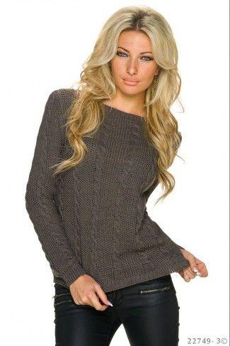 Πλεκτό πουλόβερ με πλέξη κοτσίδα - Σκούρο Καφέ