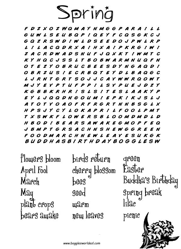 Hard Printable Word Searches for Adults | Spring Word Search (New Version) Spring Word Search (Old Version)