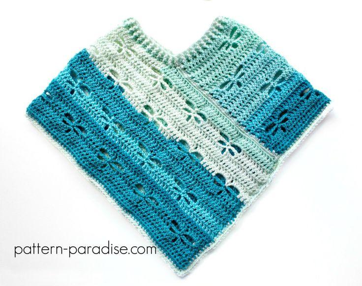 Free Crochet Pattern: Dragonfly Poncho by Pattern-Paradise.com #crochet #patternparadisecrochet #freepattern #dragonfly #poncho