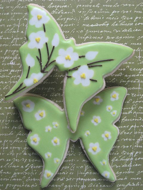 Green and White Flower Butterfly Cookies by drakegore, via Flickr