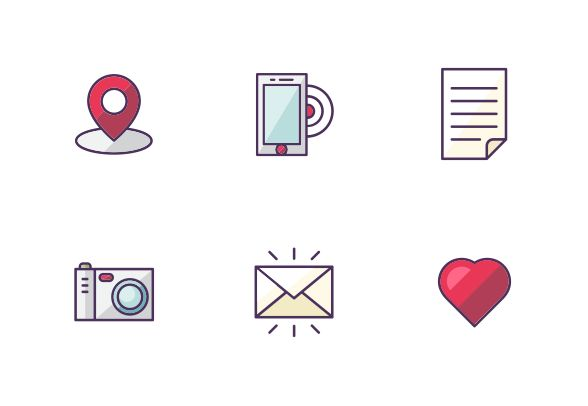 "Vector color filled bold line icons. ""Simple and popular"" set. #LineIcons #VectorIcons"
