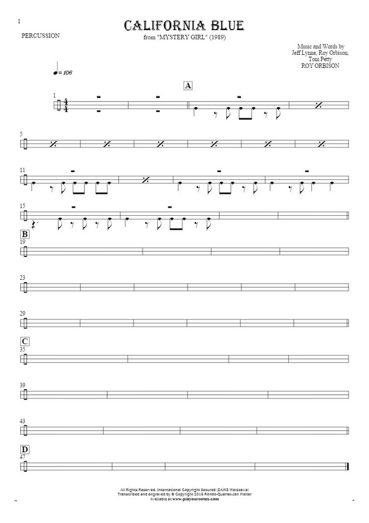 California Blue sheet music by Roy Orbison. From album Mystery Girl (1989). Part: Notes for percussion instruments.