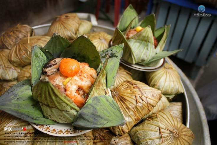 Rice wrapped in lotus leaf.