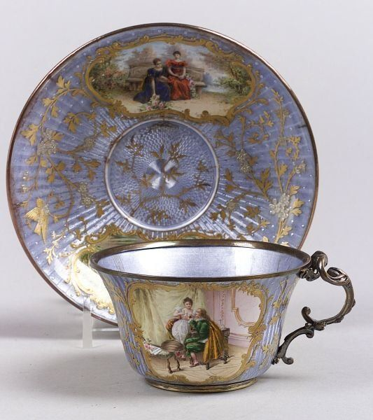 French Enamel Cup and Saucer, late 19th century