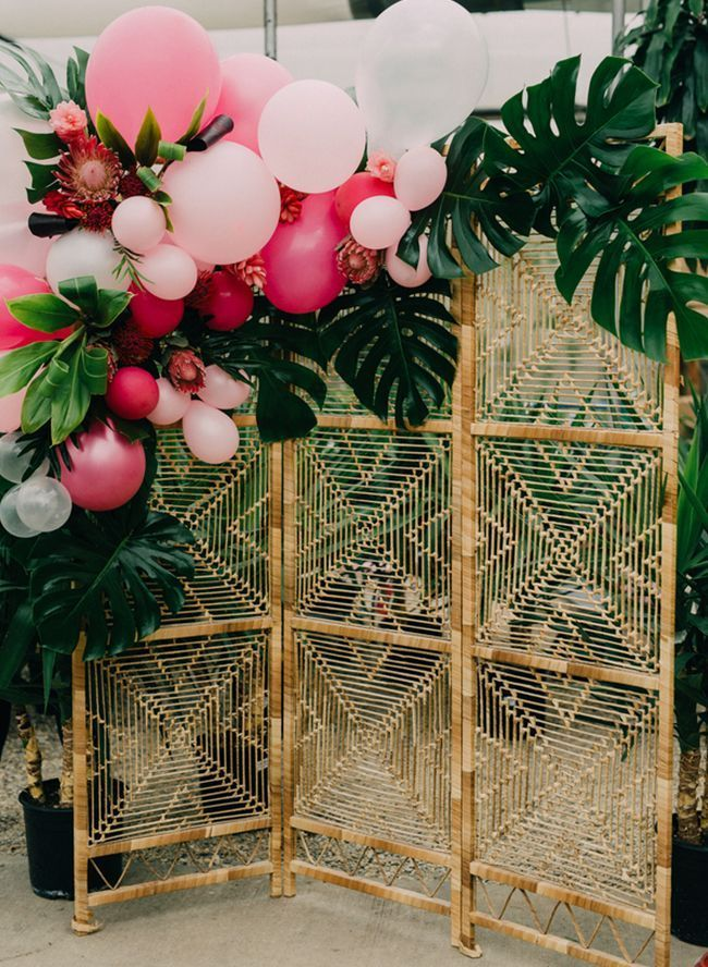 Tropical Bridal Shower In A Greenhouse Inspired By This Photo Booth Backdrop Wedding Wedding Balloon Decorations Tropical Bridal Showers