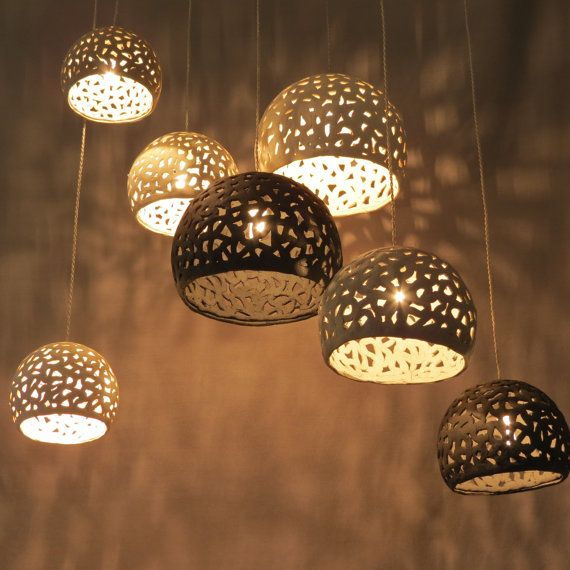 7 white, gray and black ceramic ceiling lamps. Hanging light. Pandant light. Chandelier. on Etsy, $430.00