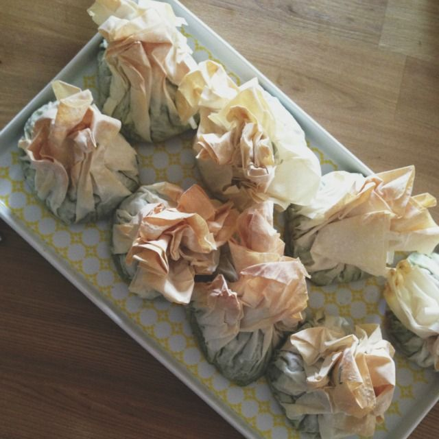 Jamie Oliver's Modern Greek Salad with Spinach Feta Parcels
