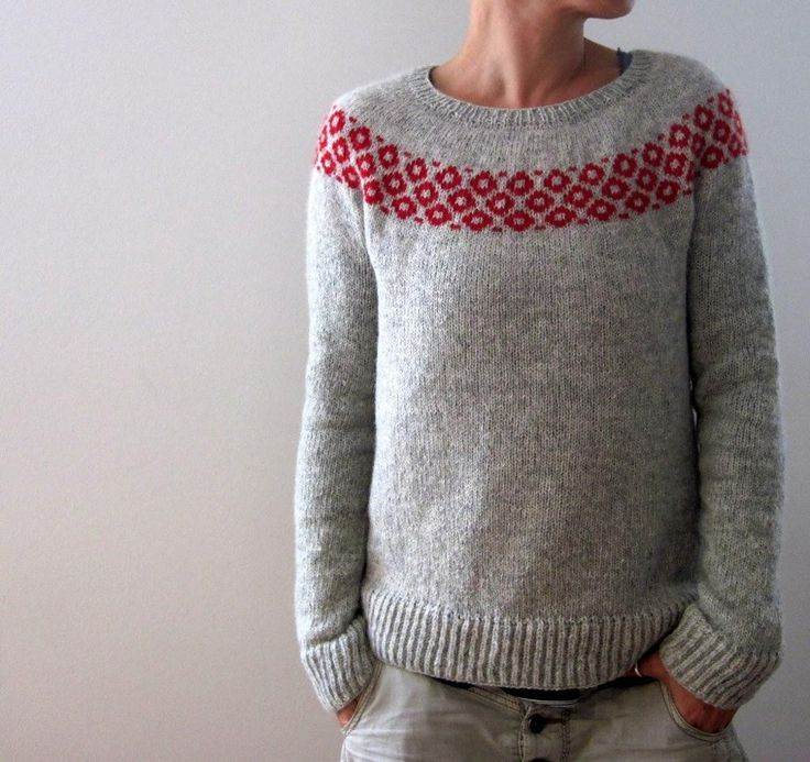 This round-yoked sweater is worked seamlessly from the top down. First some short-rows are worked back and forth to create a higher back neck and then the round-yoke is worked top down with a cute 'bubbly' color work band to sleeve separation. Some last short-rows are worked to finish the yoke shaping right before sleeve stitches are placed on hold, then the body is worked down to the brioche stitch hem. Sleeves are worked top down to the brioche stitch cuffs last.Sample is size S worn with…