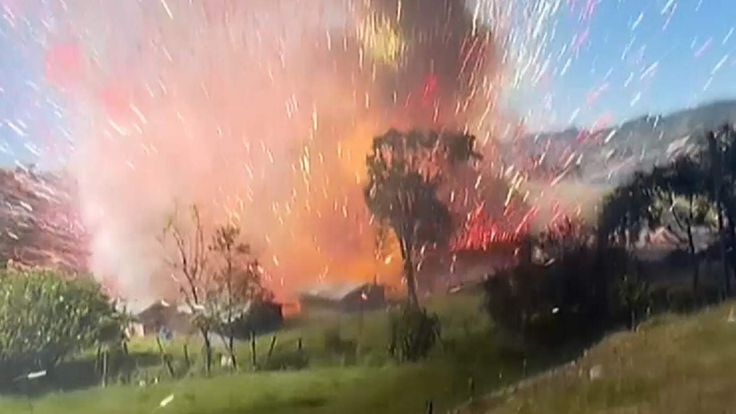 Dramatic footage captures the moment a fireworks warehouse blows up in Colombia, injuring at least two people.