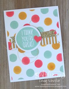 nutmeg creations: I Think You're Great - Stampin' UP Artisan Blog Hop