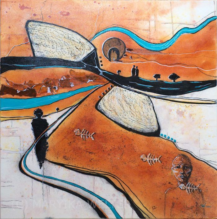 """""""The Meeting Place"""", original mixed media on canvas by Maryika Welter"""