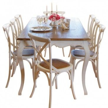 Provincial Oak Table White with 8 Cross Back Chairs Vintage White Package - Packages - Dining