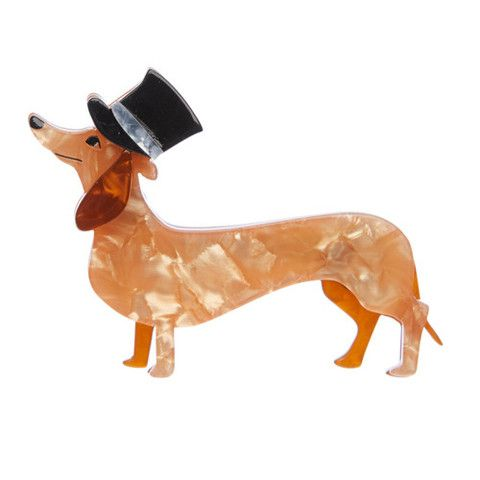 """Erstwilder Limited Edition Dapper Dachshund Brooch. """"Dressed to impress for an exclusive event. I've now got the top hat to go with my tail."""""""