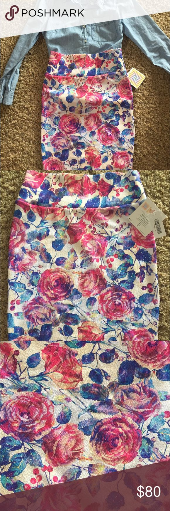 LuLaRoe Unicorn Cassie! NWT NWT! Blue and pink watercolor floral print with white and cream background. All reasonable offers considered! LuLaRoe Skirts Pencil