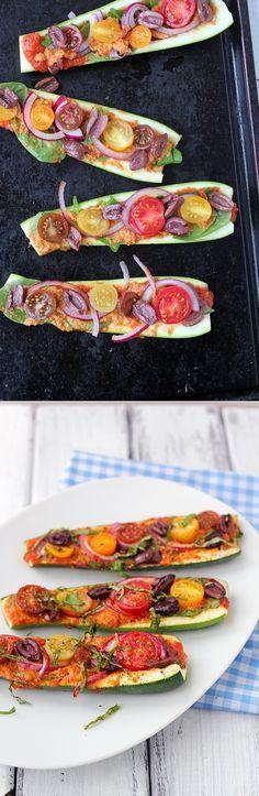 Zucchini Pizza Boats - A delicious, easy to prepare and healthy pizza. (Vegan, gluten free)