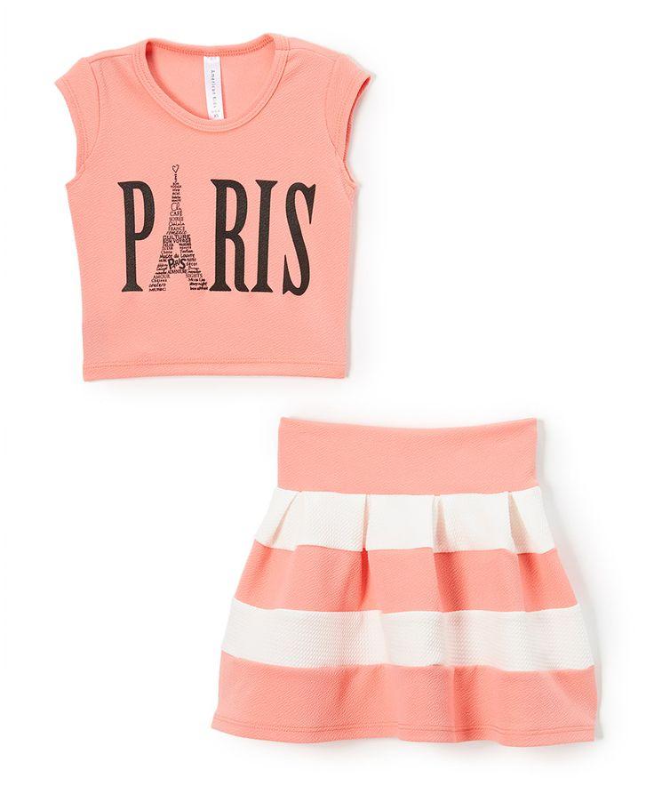 Love this American Kids Coral & White 'Paris' Tank & Stripe Skirt - Kids & Tween by American Kids on #zulily! #zulilyfinds