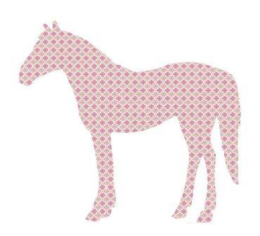 Behang Paard roze klavertjes