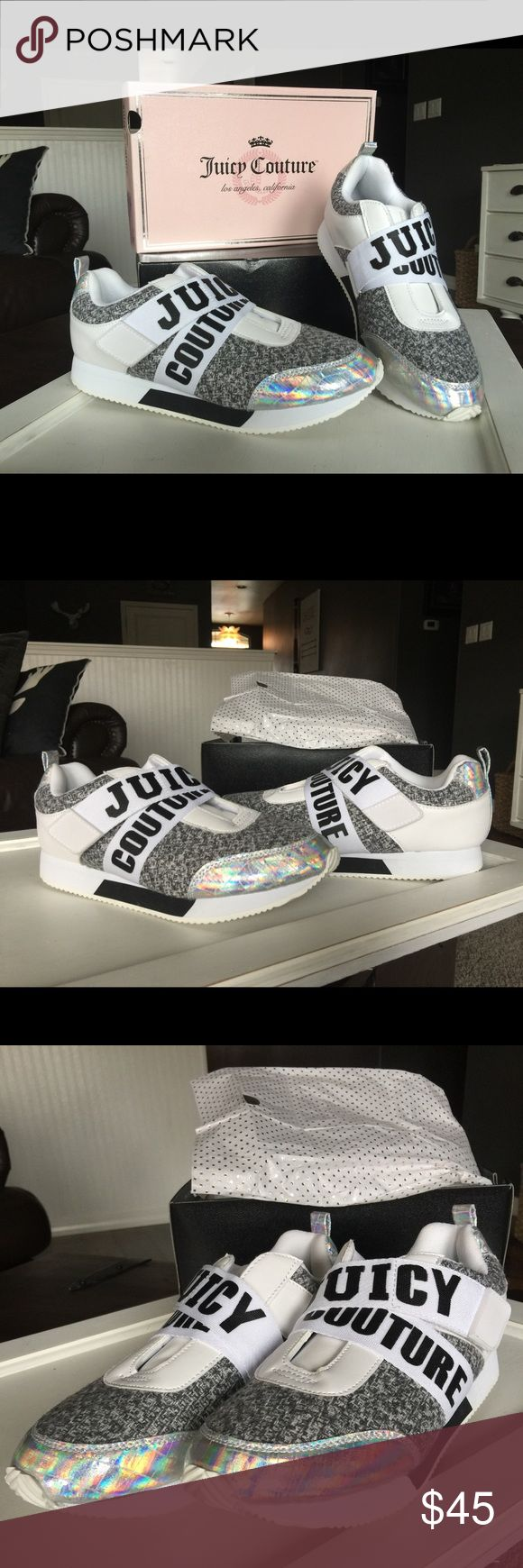 Juicy Couture tennis shoes NIB New Juicy Couture shoes. Black & white & shiny iridescent colors. Juicy Couture Shoes Athletic Shoes