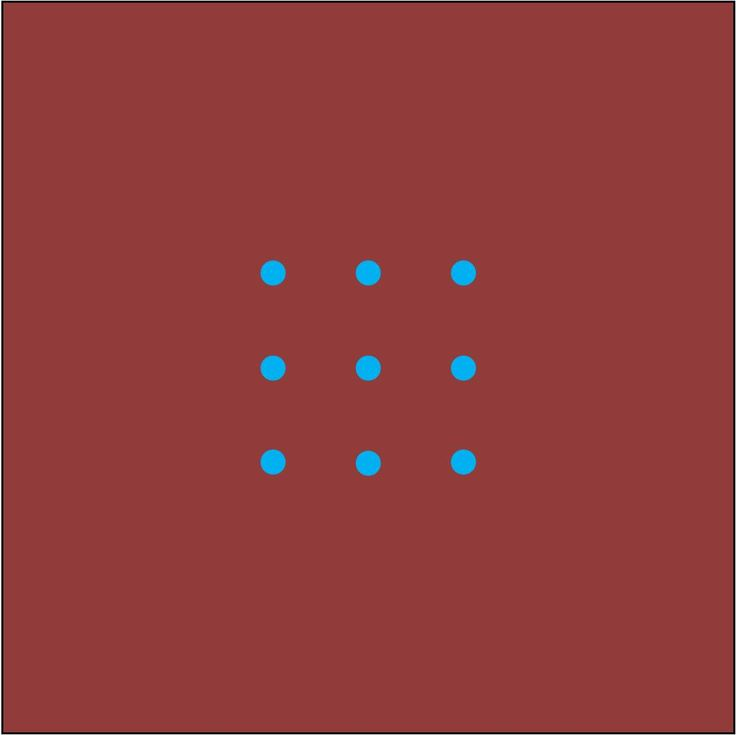 Find some paper and draw the nine dots that you see in the image. To solve the puzzle, you need to draw four straight lines (without taking your pen or pencil off the paper) which pass through all nine dots. (SOLUTION COMING SOON)