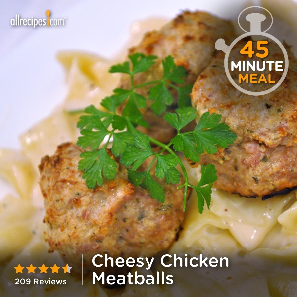 "Cheesy Chicken Meatballs | ""Yum! Everybody liked these meatballs ..."