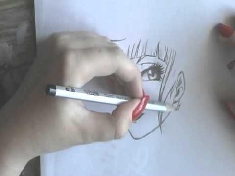 Талантливая школьница рисует аниме - YouTube
