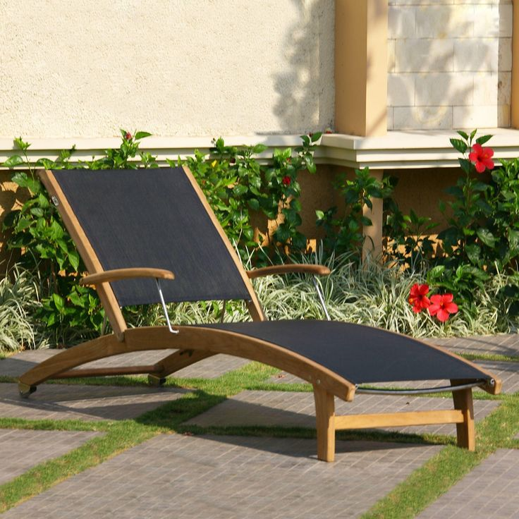 Rivera Teak Sling Lounge Chair Outdoor Chaise Lounges