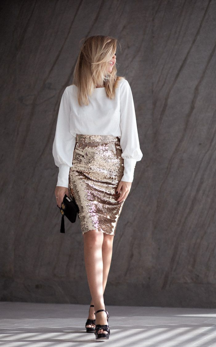 White blouse + golden sequin pencil skirt + black heeled sandals with … – #bla…