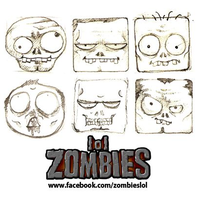 Concept sketches of super-speed action puzzle game zombies lol for iPhone