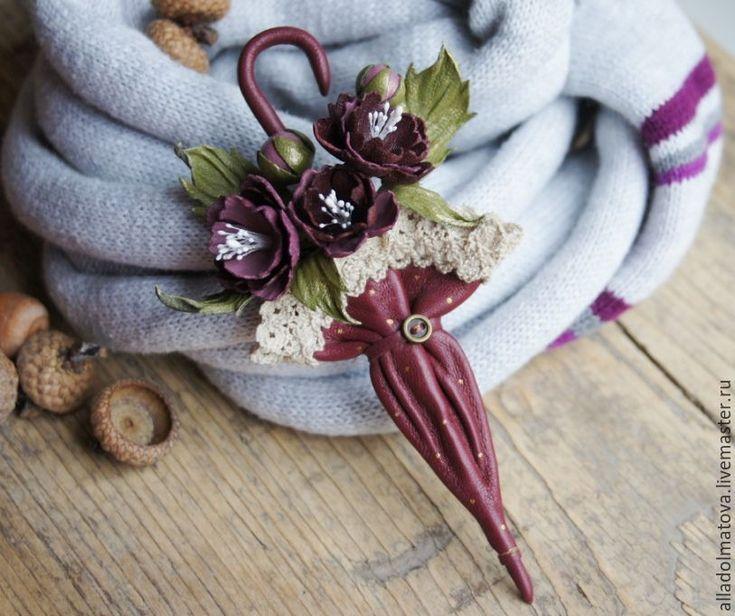 """Купить Кожаная брошь """"Осенние тропы"""". - бордовый, марсала, винный цвет, кожаная брошь"""
