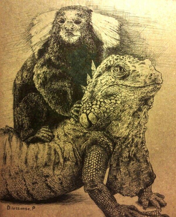 #draw #drawing #art #illustration #picture #iguana #monkey #friendship