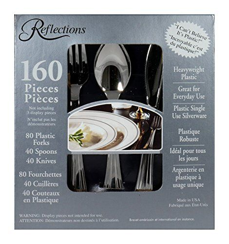 Reflections Plastic Silverware, 160 Pieces Reflections http://smile.amazon.com/dp/B008UZD4ZU/ref=cm_sw_r_pi_dp_HZaaxb0BX20X7