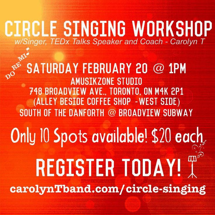 Next Circle Singing Workshop is Saturday Feb 20/16 - Register Today!