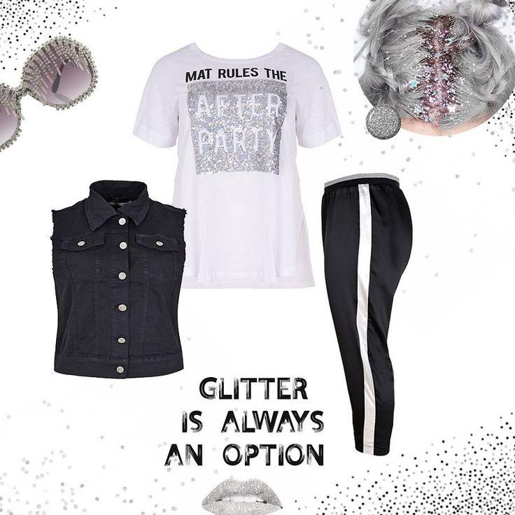 Η μόδα σε θέλει λαμπερή! Και το #matfashion glam sporty chic look έχει τη σωστή δόση glitter για σένα! Συνδύασε το relaxed παντελόνι με τη metallic γραμμή στο πλάι, με το flashy t-shirt & πρόσθεσε μια rock πινελιά με το cool denim μαύρο γιλέκο! Αγόρασε την βαμβακερή μπλούζα ➲ code: 671.1331 Αγόρασε το denim γιλέκο ➲ code: 673.3009 Αγόρασε το παντελόνι ➲ code: 671.2086 #ootd #style #inspiration #realsize #fashion #ss17 #collection #plussizefashion #glitter #instafashion #psblogger