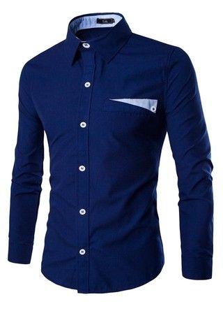 Camisa Casual Fashion Elegante - en Color Sólido - en Azul Oscuro, Blanco y Azul Claro