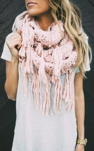 Ily Couture Blush Knit Scarf - Long