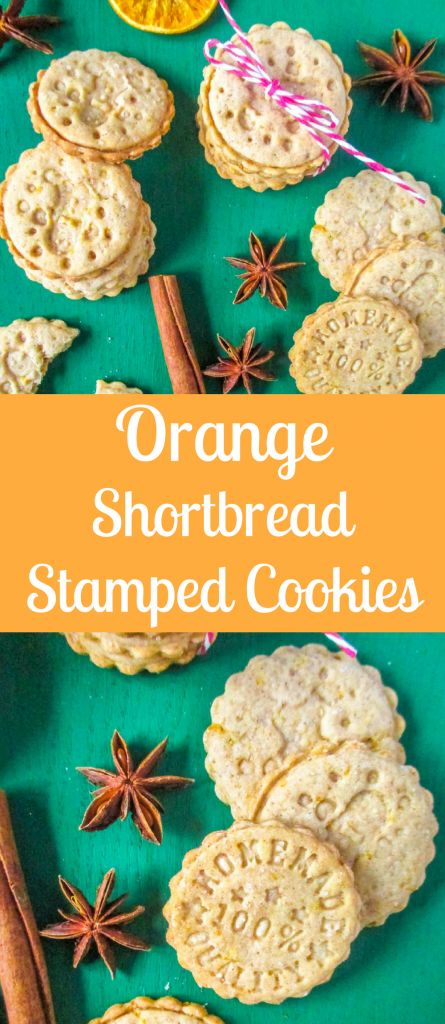 Simple Christmas shortbread stamped cookies with orange and cinnamon flavor