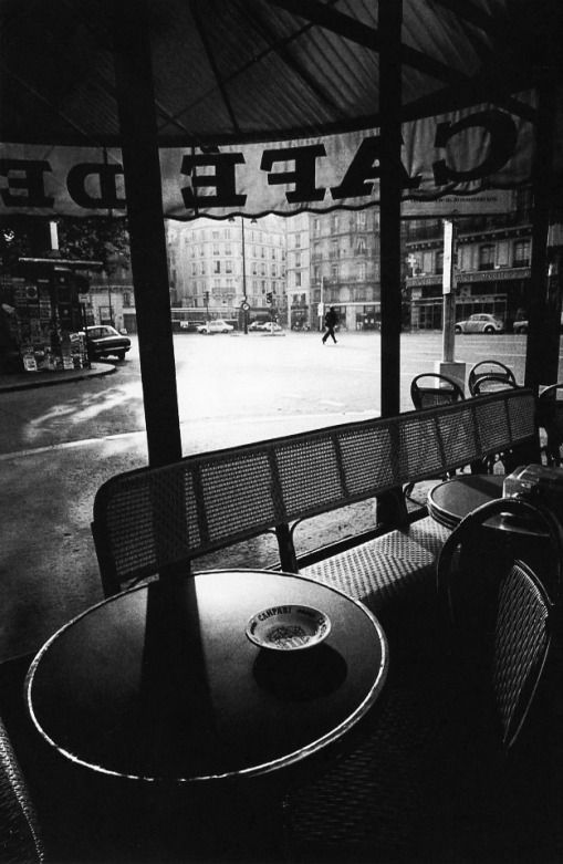 Photography by Jeanloup Sieff. Cafe de Flore. Paris. Early morning, 1975.