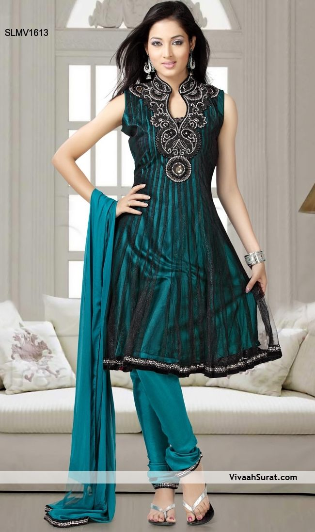 Garceful Turquoise Emblished Black Net Churidar suit