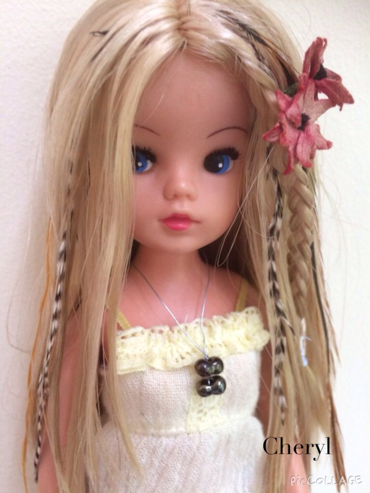 Rerooted Sindy with real feather hair extensions