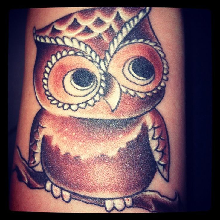 too cute wittle baby owl wrist tattoo