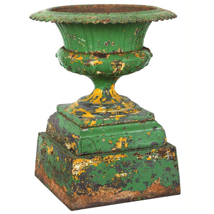patina.....Gardens Ideas, Gardens Antiques, Gardens Patinas, Gardens Urns, Green Gardens, 19Th Century, Iron Urns, Green Snakes, Cast Iron