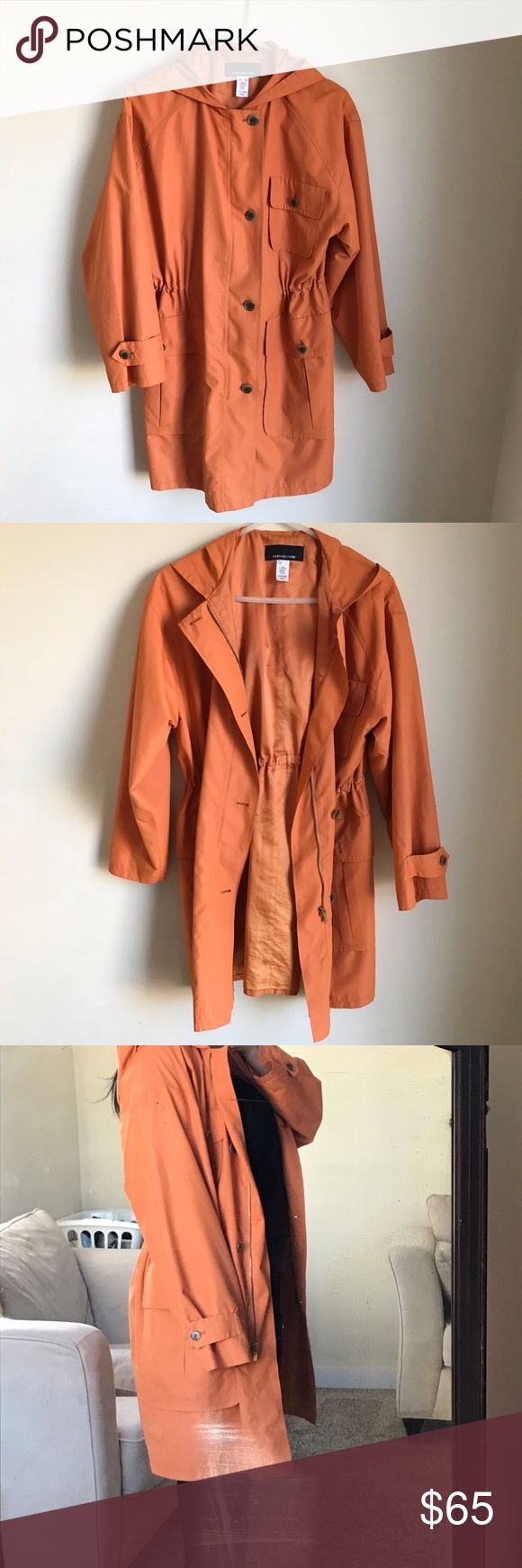 LIGHTWEIGHT TRENCH COAT EUC Lightweight trench coat. Great for spring! Has 3 front pockets. Zip and button closure, fully lined and hood. Also has an inside drawstring waist option. Jones New York Jackets & Coats Trench Coats