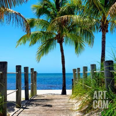 Boardwalk on the Beach - Key West - Florida Photographic Print by Philippe Hugonnard at Art.co.uk